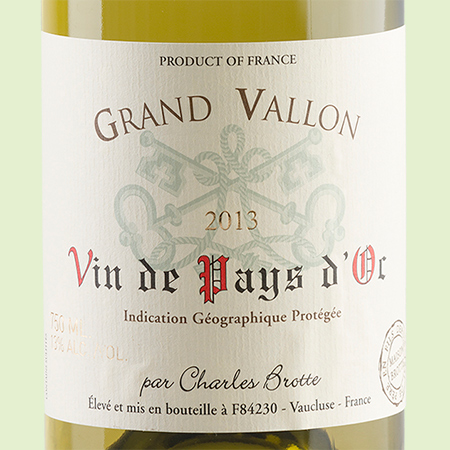 etiketa Grand Vallon Vin d'Pays Blanc